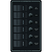 8373 BLUE SEA WATER PROOF DC PANEL 6 POSITION BLACK